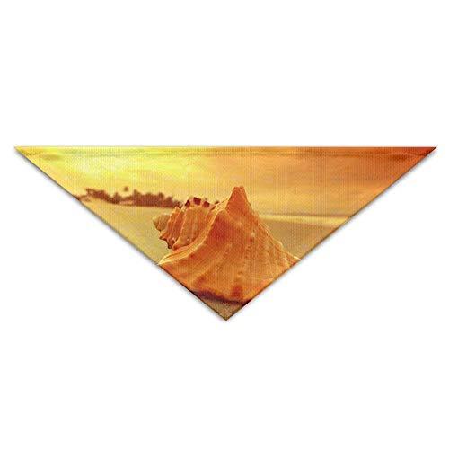 bent,Cotton Polyester,Gold Beach Shell Turban Pet Bandana Baby Puppy Triangle Scarf Bib ()