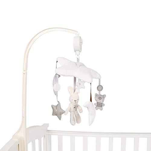 Mobile de Musical pour Berceau de bébé,Musical Pentagramme Lapin en Peluche Rotatif Carillon éolien Poussettes Jouet d'activité pour Berceau, Poussette, Landau