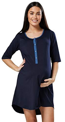 HAPPY MAMA Damen Geburtskleid Krankenhaus Umstands Nachthemd Stillfunktion. 539p (Marine, 40-42, L)