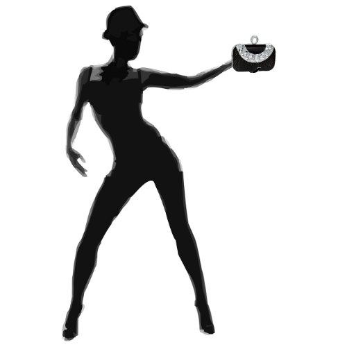 Elegante Pochette Da Donna Caspar / Borsa Da Sera Con Decorazioni Ruches E Pietre Di Strass E Chiusura Con Anello Per Dito - Molti Colori Nero