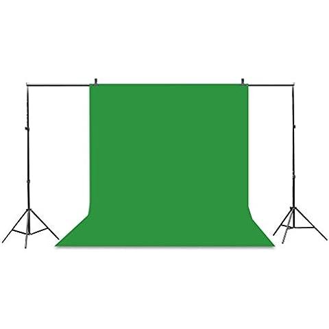 Kit de 3 Fondo Fotografico con Soporte para Estudio de Fotografía (9 pies x 6 pies Fondos Verde, Negro, Blanco, 10 pies x 6.5 pies Ajustable Soporte para Fondo)