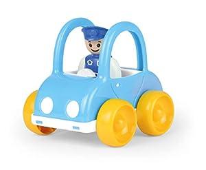 Lena 01574 My First Racers - Cochecito de policía de Juguete con Figura móvil de policía, Coche de policía para Empujar y Ruedas, Juguete para bebés y niños pequeños a Partir de 12 m+, Color Azul