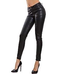 be783424e081a8 Toocool - Pantaloni Donna Eco Pelle Similpelle Zip Cerniera Posteriore  apribile V2893-1