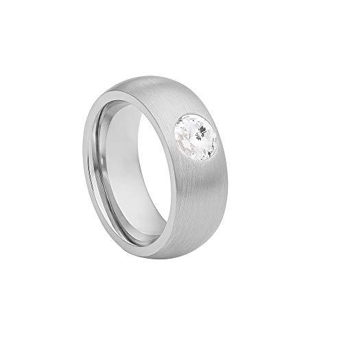 Heideman Ring Damen Coma 8 aus Edelstahl Silber Farben matt Damenring für Frauen mit Swarovski Stein Zirkonia Weiss schwarz oder bunt im Fantasie Edelstein Schliff Crystal Gr.52 hr9108-4-1-52