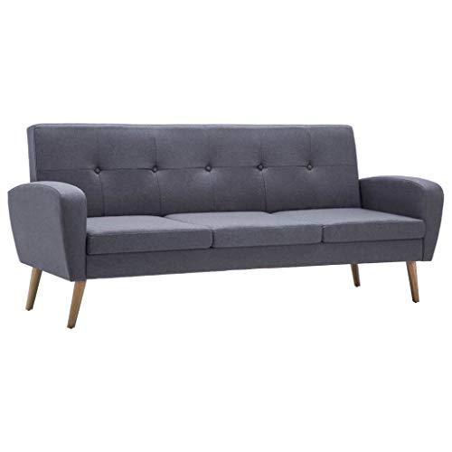 vidaXL Sofa 3-Sitzer Stoff Hellgrau Polstersofa Couch Stoffsofa Designersofa