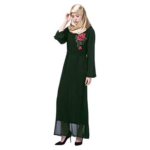 Andouy Abaya Kleid Damen Elegant Stickerei Blume Islamischen Muslimischen Partykleid mit Gürtel(M(34).Grün)
