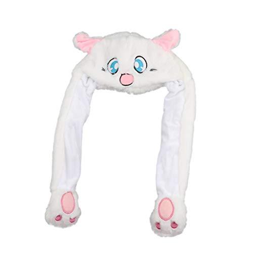 Fenteer Lustige Plüsch Tier Hut Mütze, Beweglich Ohren durch Kneifen Airbag, Erwachsene und Kinder - Blaues Kaninchen