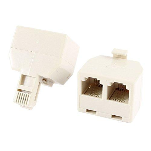 Sourcingmap® RJ11 6P4C 1 Stecker auf 2 Buchsen Verteiler Stecker Telefonkabel ADSL 2 Stücke de - Double Female Adapter