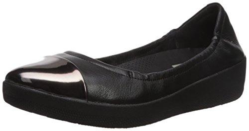 FitFlop Superbendy Mirror Toe Ballerina - Black Leather Schwarz