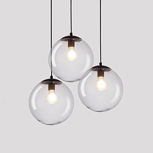 Lampadari a sfera in vetro rotondo, 1/3 luci Nordic LED Nero Ferro Mini lampadario a soffitto Lampade Postmodern Cafe Abbigliamento Negozio Corridoio lampada a sospensione luce pendente
