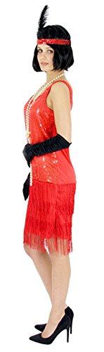 Rot Kostüm Flapper - Foxxeo 40207 | 20er Jahre Damen Kleid Charleston Kostüm Mafia 20s Flapper rot, Größe:M