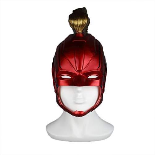 Maske Held Kostüm - GanSouy Rächer: Endspiel, Kapitän Marvel Maske, Erwachsene Frauen Kapitän Marvel Helm Cosplay Held Dame Kostüm,Red-OneSize