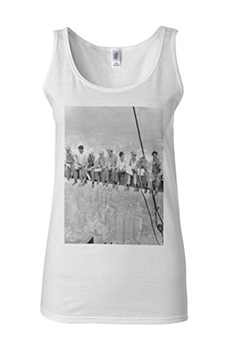 Skyscraper Lunch in the Sky Novelty White Femme Women Tricot de Corps Tank Top Vest **Blanc