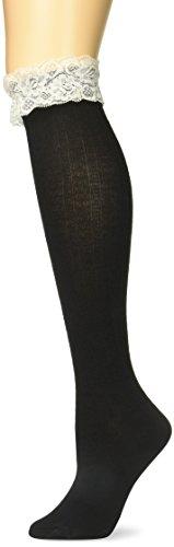 BRITT 'S KNITS Boot Socken Kabel mit Spitze, schwarz, one size