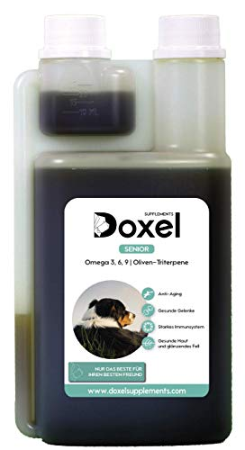 Doxel Senior-250ml Aceite para perros| Suplemento| Antiinflamatorio| Anti envejecimiento| Articulaciones sanas| Sistema inmunitario| Ácidos grasos Omega 3 6 9| Vitamina E| Masa muscular|Perros mayores