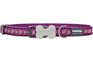 Red Dingo Designer Dog Collar, Daisy Chain Purple (25mm x 41-63cm) L