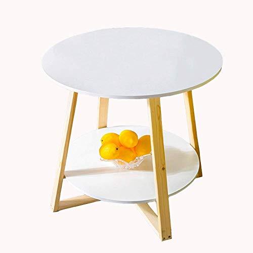 Qiuoorsqurp Stilvoller und einfacher runder Tisch, Kleiner Teetisch, Sofa-Beistelltisch, Lesetisch (60 × 60 × 62 cm) (Color : White)