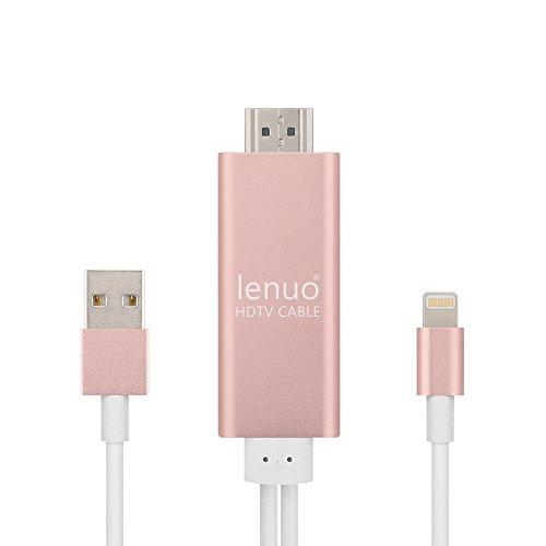 Lenuo 8pin Apple Lightning a hdmi + Micro USB, Cable adaptador para la TV 1080p HD y para los dispositivos Apple Iphone y iPad con Retina Display,iPad mini iPad Pro, color (Rosa)