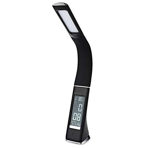 HOYSGS 2017 Premium 5 Watt 200Lm Elektronische Va Bildschirm 3 Ebene Dimmbare LED Tischlampe Mit Kalender Temperatur Wecker, Schwarz - 60 Va Elektronische