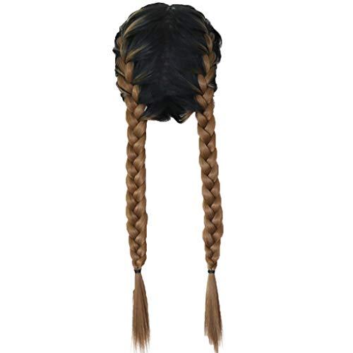 cinnamou Perücken Schwarz,Synthetische Babyhaar geflochtene doppelte Lace Front Perücke lange Ombre bunte Perücken