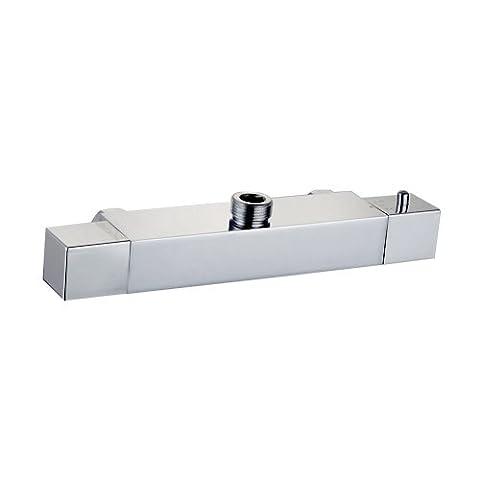 Housler® Thermostat Dusche Ventil chrom ausgesetzt Messing Körper modern Cube quadratisch 1/5,1cm (15mm) Auslass, chrome, 3/4 Inch (22mm) Top outlet