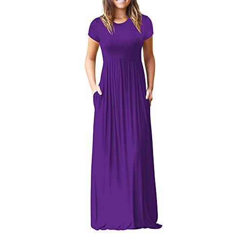 Damen,Sommer Solide O-Ausschnitt Beiläufig Taschen Kurzarm Kleid Lose Party Kleid 2019 ()