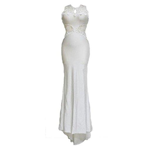 Fami Femmes Sexy Backless sans manches en dentelle Slim Bodycon Party Robe longue Soirée (Size :L) Blanc