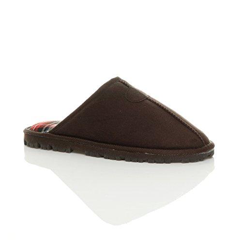 Herren Luxuriös Warm Winter Pelz Gefüttert Gemütlich Geschenk Hausschuhe Pantoffeln Größe Braun Schottenstoff