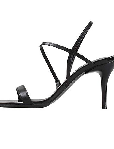 WSS 2016 Chaussures Femme-Mariage / Bureau & Travail / Habillé / Soirée & Evénement-Noir / Blanc-Talon Aiguille-Talons-Sandales-Cuir black-us7.5 / eu38 / uk5.5 / cn38