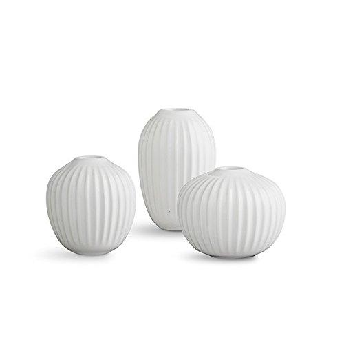 Kähler Hammershøi Vasen Set, Keramik, Weiß 8 x 9,5 x 2,2 cm