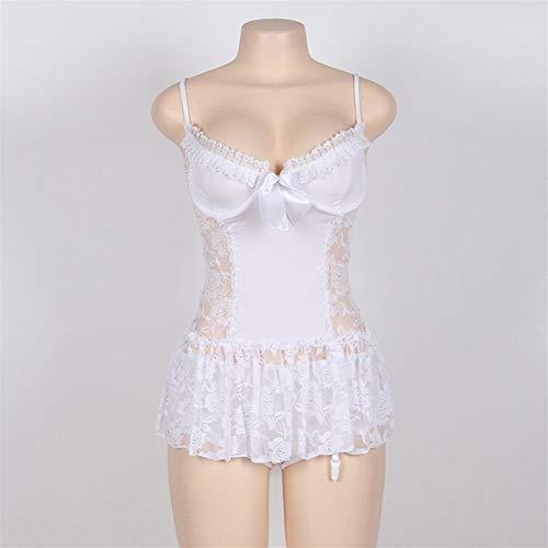 X-fangcao, Schnüren Sie Sich Oben weiße reizvolle Unterwäsche-Frauen-Braut-Babydoll-Nacht höhlen heraus Blumen- Plus Größen-erotische Frau-reizvolle Kostüme aus (Color : White Babydoll, Size : - Sexy Höhle Frau Kostüm