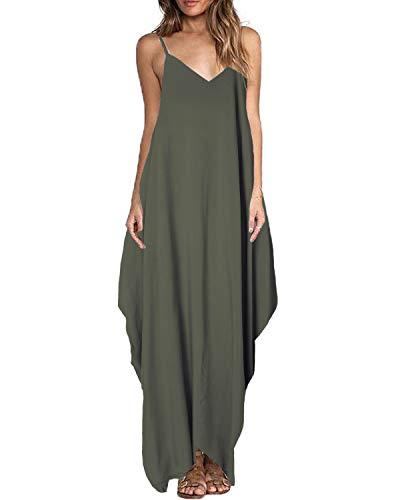 ZANZEA Damen Ärmellos V-Ausschnitt Lange Kleider Rückenfrei Lose Oversize Strandkleider Olive EU 36/Etikettgröße S - Olive Grünes Kleid