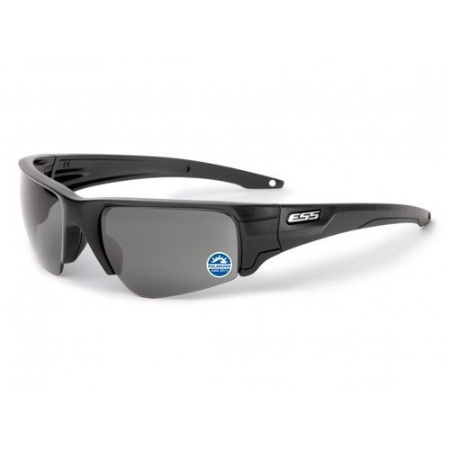 ESS Gafas de Sol pie de Cabra Negro/Plata Logo polarizadas Gris Lente Efecto Espejo