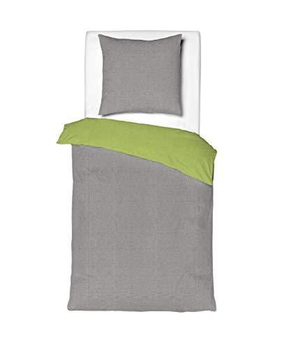 Mistral Home - Bettwäsche 135x200 cm Baumwolle + Reißverschluss zum Wenden unifarben Grau & Grün Wendebettwäsche einfarbig Hellgrau Hellgrün 2-teiliges Bettwäscheset Bettbezug Normalgröße -