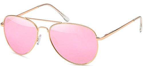 UVprotect Aviator Damen Sonnenbrille goldfarbener Rahmen Pink W18-1