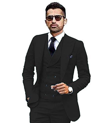 YSMO Herren Männer Slim Fit Anzüge Weste Business Tuxedo Dreiteilige Jacke Hosen Weste Set -