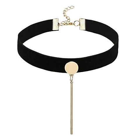 Bishilin Choker Halskette Damen Leder Velvet Schwarz Choker Halskette für Mädchen Tattoo Choker Einfach Mode Kette 31.5+4.3CM