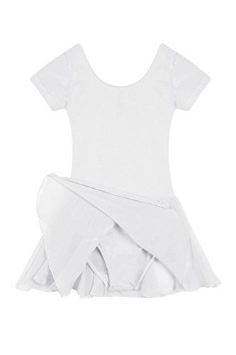 L'Amore Ballettanzug Ballerina Kleid Kinderkostüm, Kinder Mädchen Tutu Ballettkleid Trikot Kleid mit Chiffonröckchen in Rosa Pink Schwarz Weiß Lila Blau Gr. 110-160