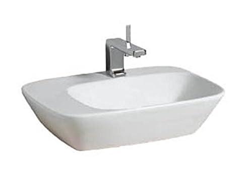 Keramag Aufsatzwaschbecken Silk 121650, Ablage links, ohne Überlauf L 57x42,7cm KeraTect weiß(alp