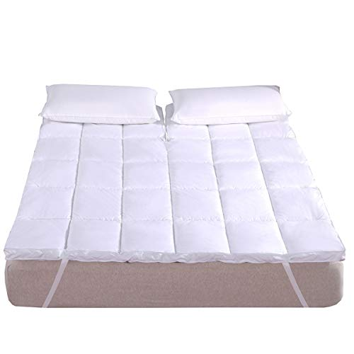 Royal Hotel Abripedic Matratzenauflage, Plüsch, Baumwolle, 5,1 cm, hypoallergen, überfüllte Daunen, Alternative Ankerbbänder, Matratzenauflage Top-Split-King weiß - Plüsch-top-matratze