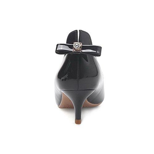 AalarDom Femme Verni à Talon Correct Chaussures Légeresavec Pièce Décorée Noir