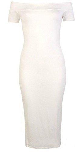 Neu Damen Übergröße Lang Bodycon Bleistift schulterfrei Midi Kleid 16-26 Cremefarben