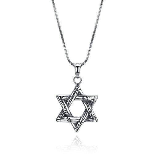 COAI® Geschenkideen Glückskette Hexagramm David-Stern Anhänger aus Edelstahl Halskette für Männer und (Modeschmuck Stern David)