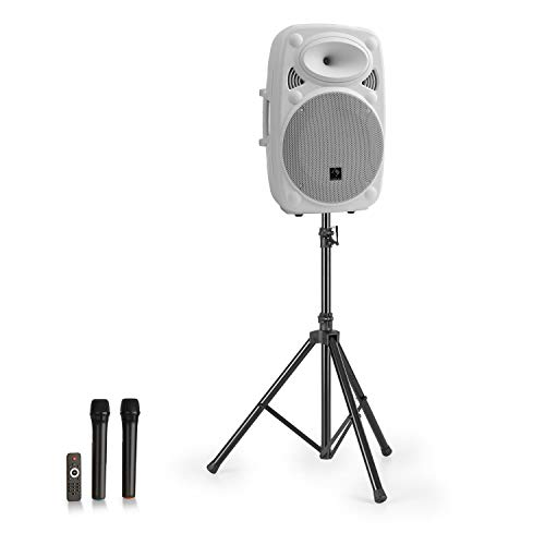 """auna Streetstar 12 Mobile PA-Anlage & Stativ - 12\"""" (30,5 cm) Subwoofer, 800 Watt max, LED-Display, XMR Bass Technology, Bluetooth-Funktion, USB-Port, SD-Slot, MP3, Line-Out, AUX, weiß"""