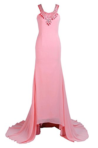 YiYaDawn Langes Hochwertiges Hochzeitskleid mit Schleppe für Damen Koralle