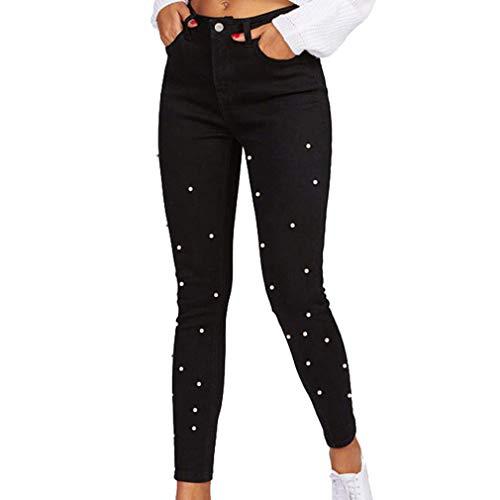 Damen Jeans Strecken Slim Einfarbig Bleistifthosen Mode Perle Spleißen Hohe Taille Skinny Jeanshose Lange Hosen Schwarz Beiläufig Hose mit Reißverschluss und Taschen S-2Xl Perlen-hosen