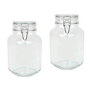 Bormioli Fido Gläser mit Bügelverschluss 2 teilig | Füllmenge 3 L | Luftdichte Konservierung durch den Gummiring sowie den Drahtbügelverschluss