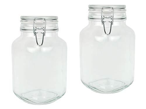 Bormioli Fido Gläser mit Bügelverschluss 2 teilig | Füllmenge 3 L | Luftdichte Konservierung durch den Gummiring sowie…