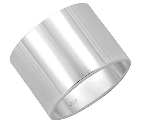 SchmuckDesign-Nord Bandring Silber 925 Poliert Klassischer Breiter Band Ring Silberring 14mm Lang (73 (23.2)) - Silber Breites Band-ringe