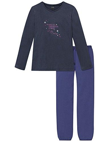 Schiesser Mädchen Zweiteiliger Schlafanzug Anzug Lang, Blau (Dunkelblau 803), 164